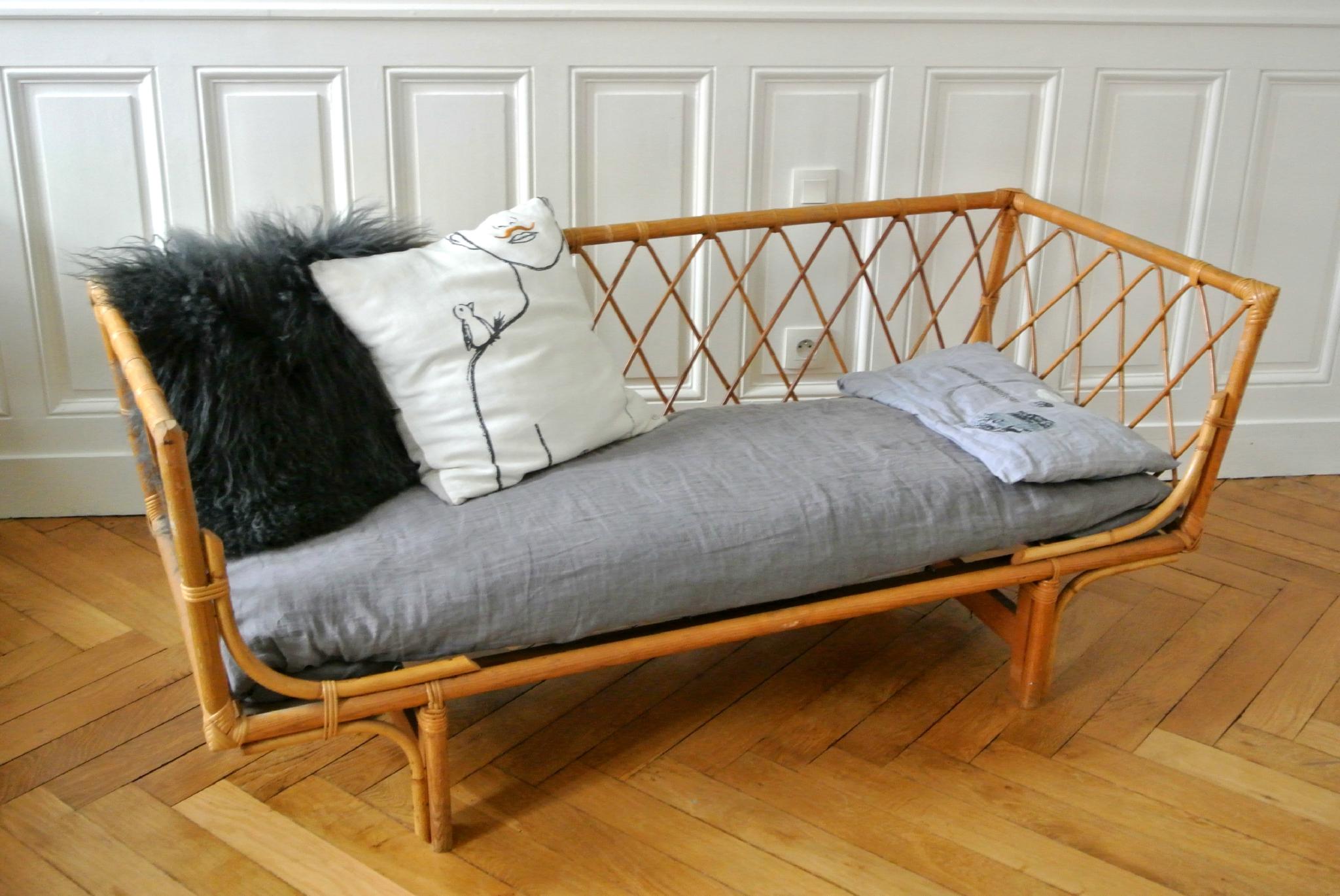 lit daybed rotin ann es 50 solveig vintage kids. Black Bedroom Furniture Sets. Home Design Ideas