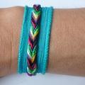 Bracelet -Manchette 'Tressé & Soie' turquoise