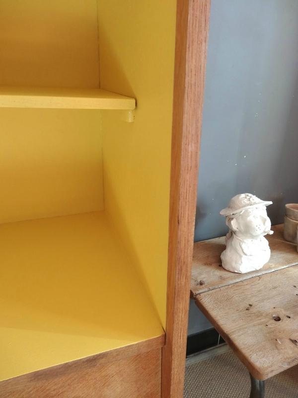 Bibliothèque jaune Babouche et chene 2