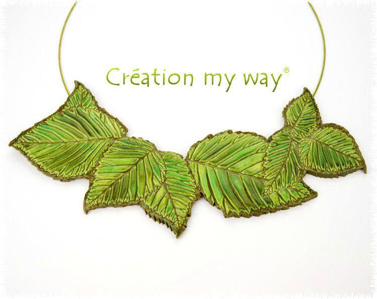 challenge sutton slice et pastel collier de feuilles cr ation my way. Black Bedroom Furniture Sets. Home Design Ideas