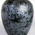 Vase - Martin- pêcheurs noir