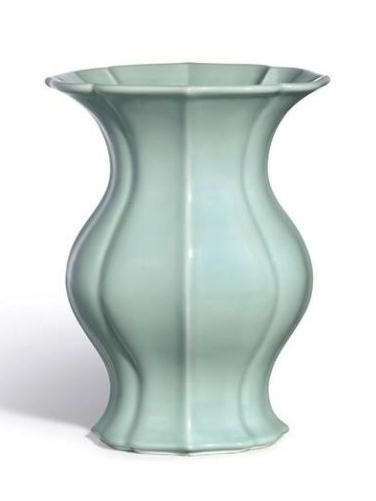 A Fine and Rare Celadon-Glazed Vase, Seal Mark And Period Of Qianlong