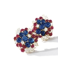 Pair of coloured stone and diamond ear clips, bulgari