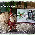 Carte feuille de houx cardinal et lanterne Joyeux Noël