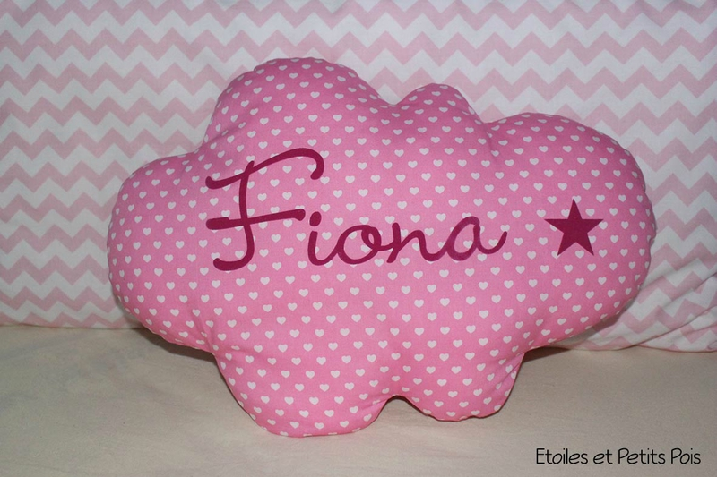 Coussin nuage rose coeur fiona