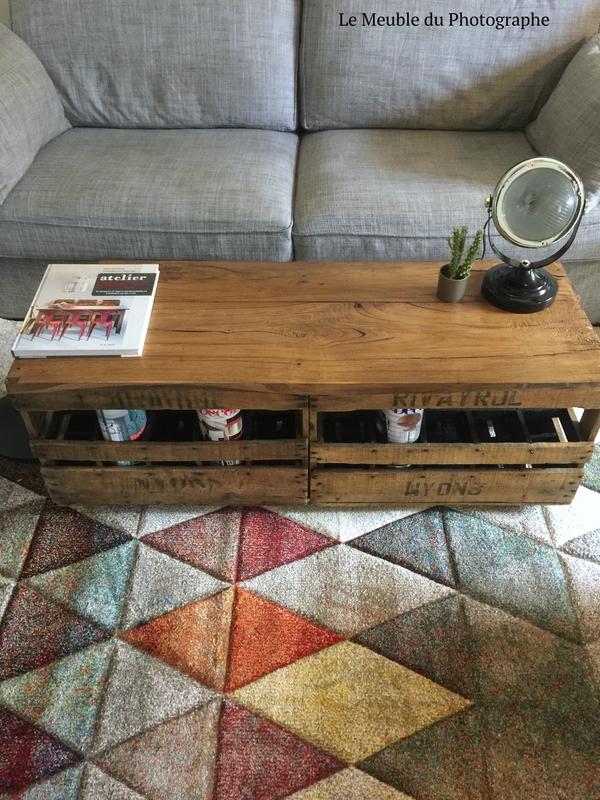 casier en bois, à bouteille en table basse, par Le Meuble du Photographe