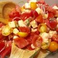 Salade de tomates, mozzarella et échalotes