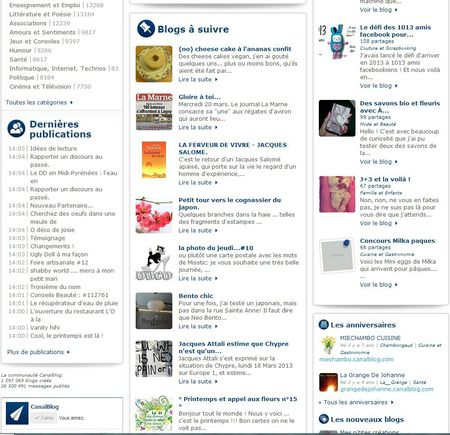 SELECTION CANALBLOG LE 21 MARS 2013