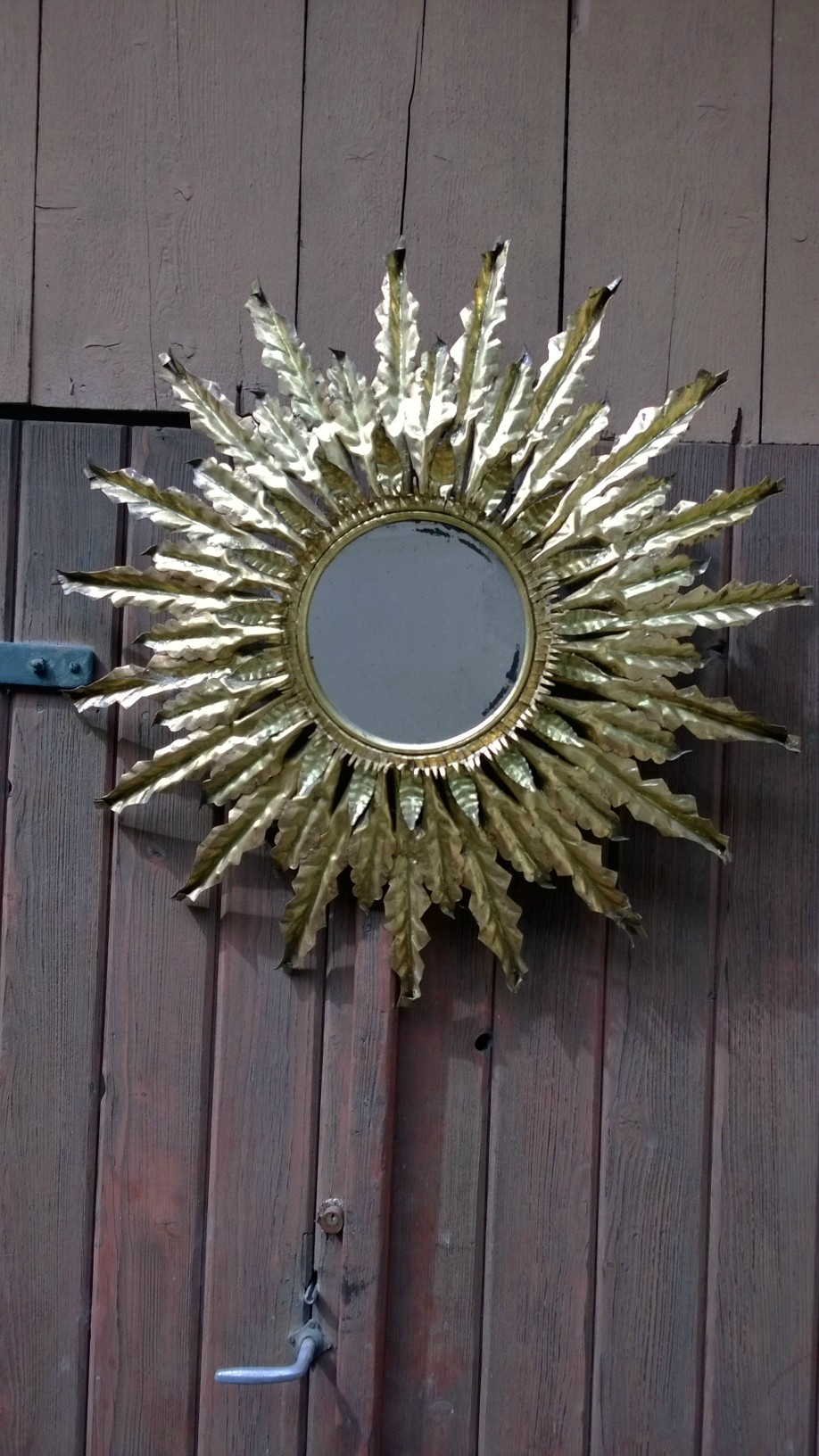 Grand miroir soleil en metal dor vintage indus what else for Grand miroir metal
