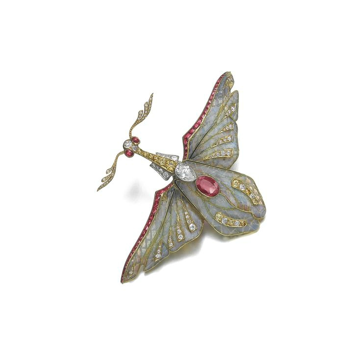 Ruby, diamond and enamel brooch, Philippe Wolfers, circa 1900