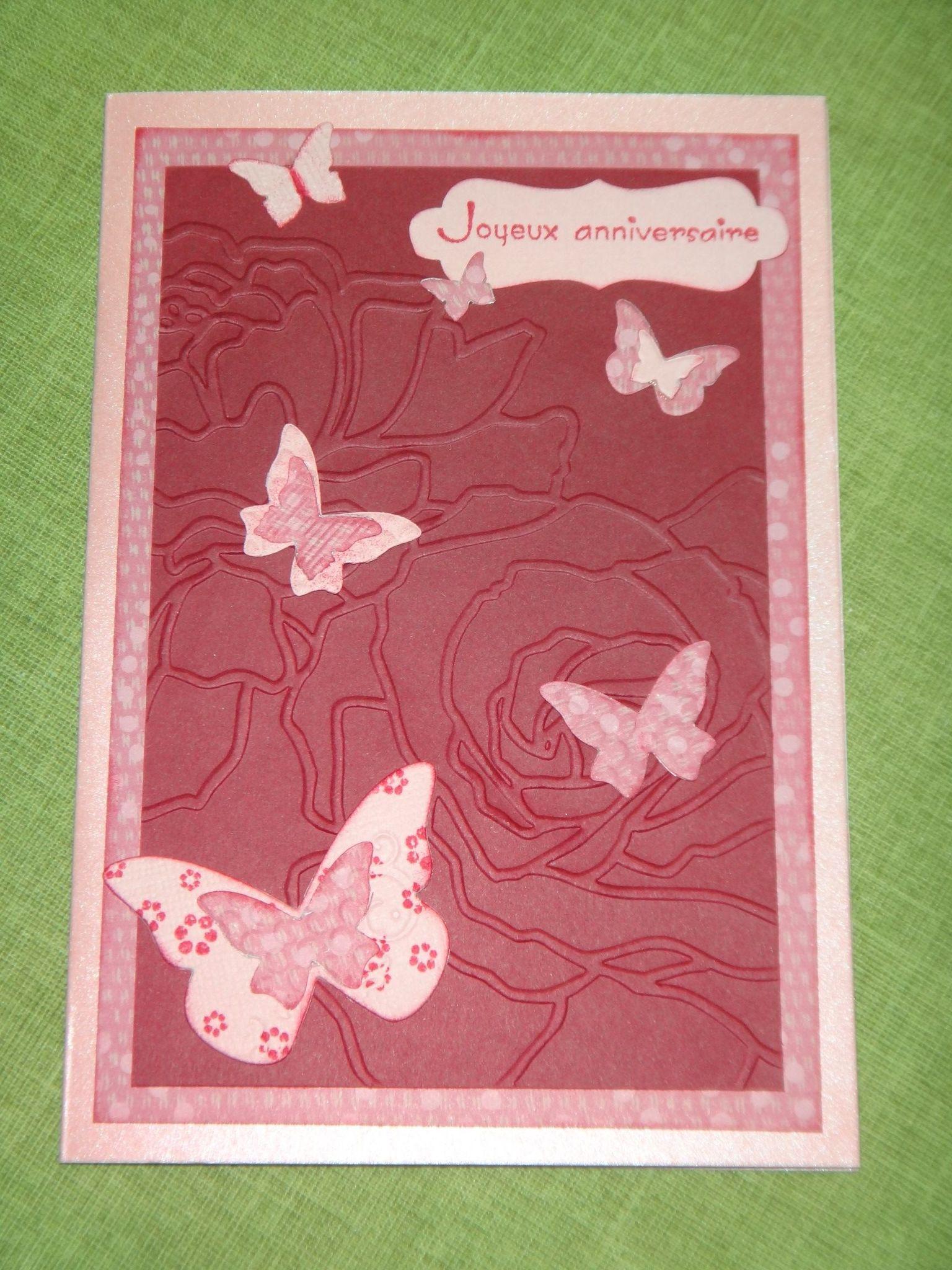 Carte d 39 anniversaire 39 39 envol e de papillons 39 39 fait main par moi - Carte anniversaire fait main ...