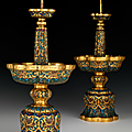 Pair of ritual candlesticks, china, qianlong, (1735 - 1796), qing dynasty