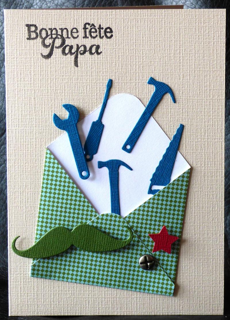 carte de fête des pères avec envolée d'outils