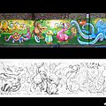 Montage_Fresque_ecole-breuil_normandie_graffeur_paynt_graffiti_calvados_animaux_jungle_fantastique_imaginaire_reves_melange_flammand_rose_dodo_lezard_serpent_singe_web_1