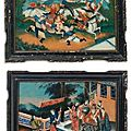 A set of three chinese export reverse-painted glass pictures. circa 1820