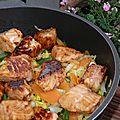 Plat complet : poêlée croquante saumon, carotte, chou chinois, haricots verts