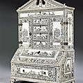 A vizigapatan miniature bureau bookcase of engraved ivory veneered on sandalwood carcass. india, ca 1780