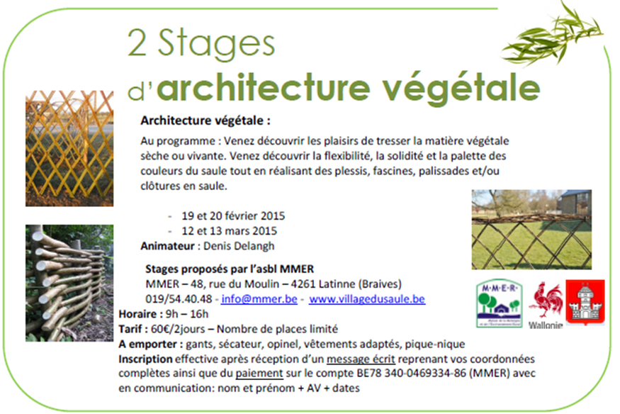 Stages d 39 architecture v g tale braives mmer stages for Architecture vegetale