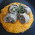 Involtini di vitello con pur di zucca - Rouleaux de veau, pure de butternut