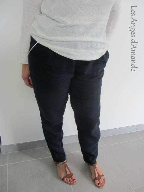 pantalon lin marine