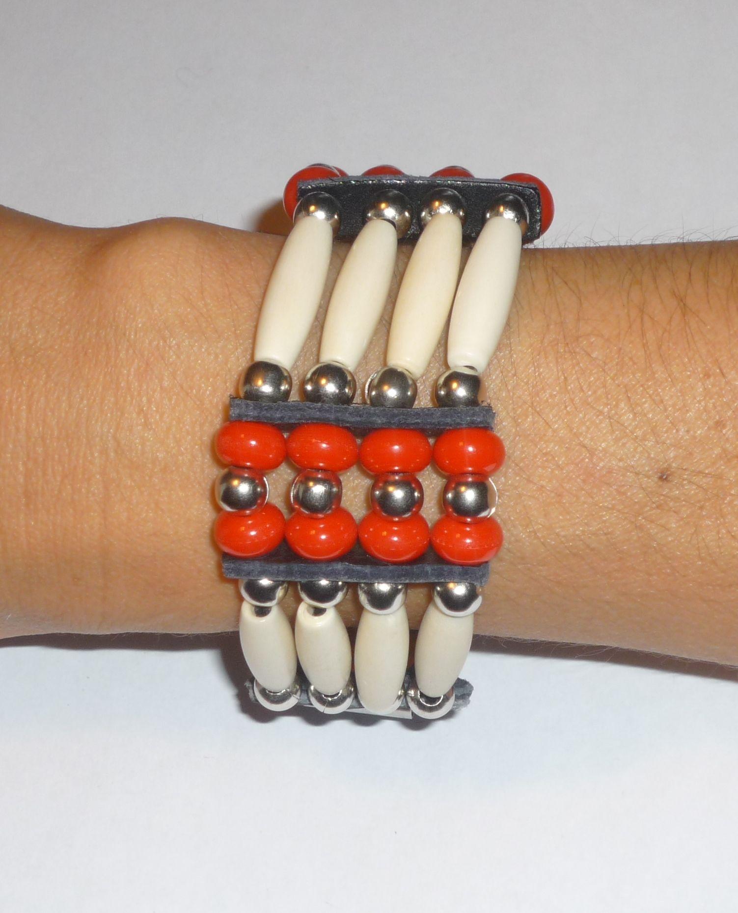 Bracelet Manchette - Collier 'Cheyenne' rouge