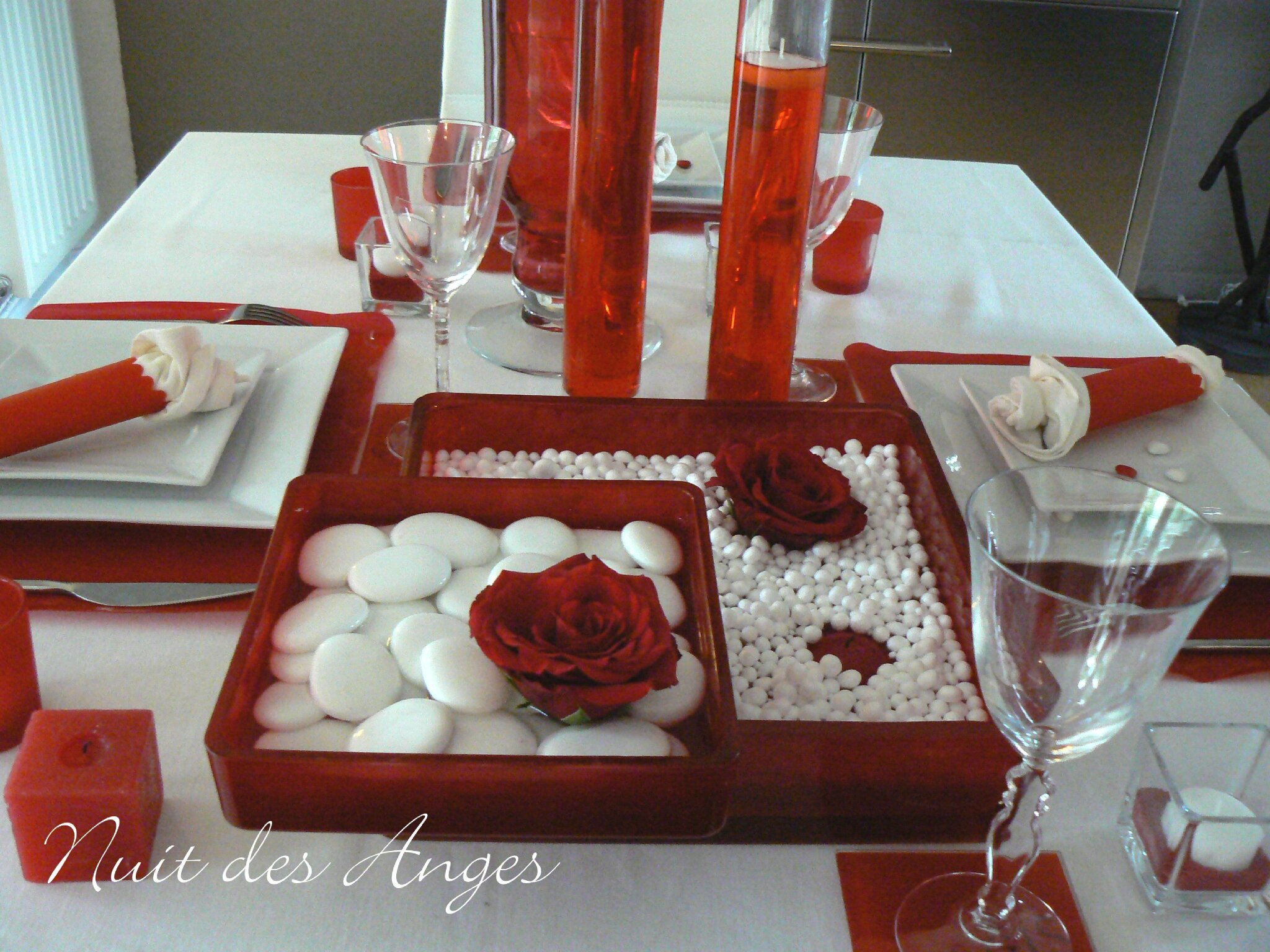 Nuit des anges d coratrice de mariage d coration de table - Decoration de table rouge et blanc ...