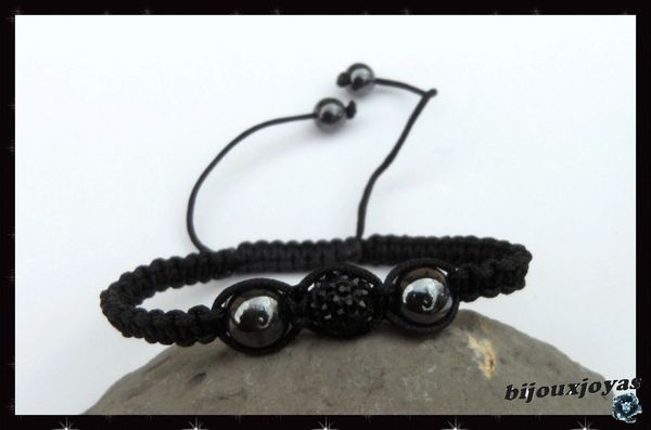 Bracelet Shamballa 1 Perle Disco Cristaux Strass Noir Fil Noir + Hématite