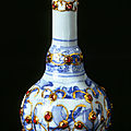 Porcelain bottle, mounted with silver, gold, and gemstones. bottle: china; c. 1550. mounts: turkey; 1550-1600.