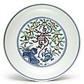 A doucai 'peach and longevity' dish, seal mark and period of daoguang (1821-1850)