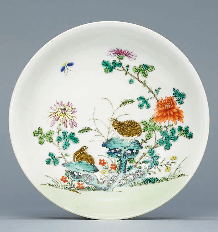 A famille rose 'Quails and Chrysanthemum' dish, Qianlong six-character seal mark in underglaze blue and of the period