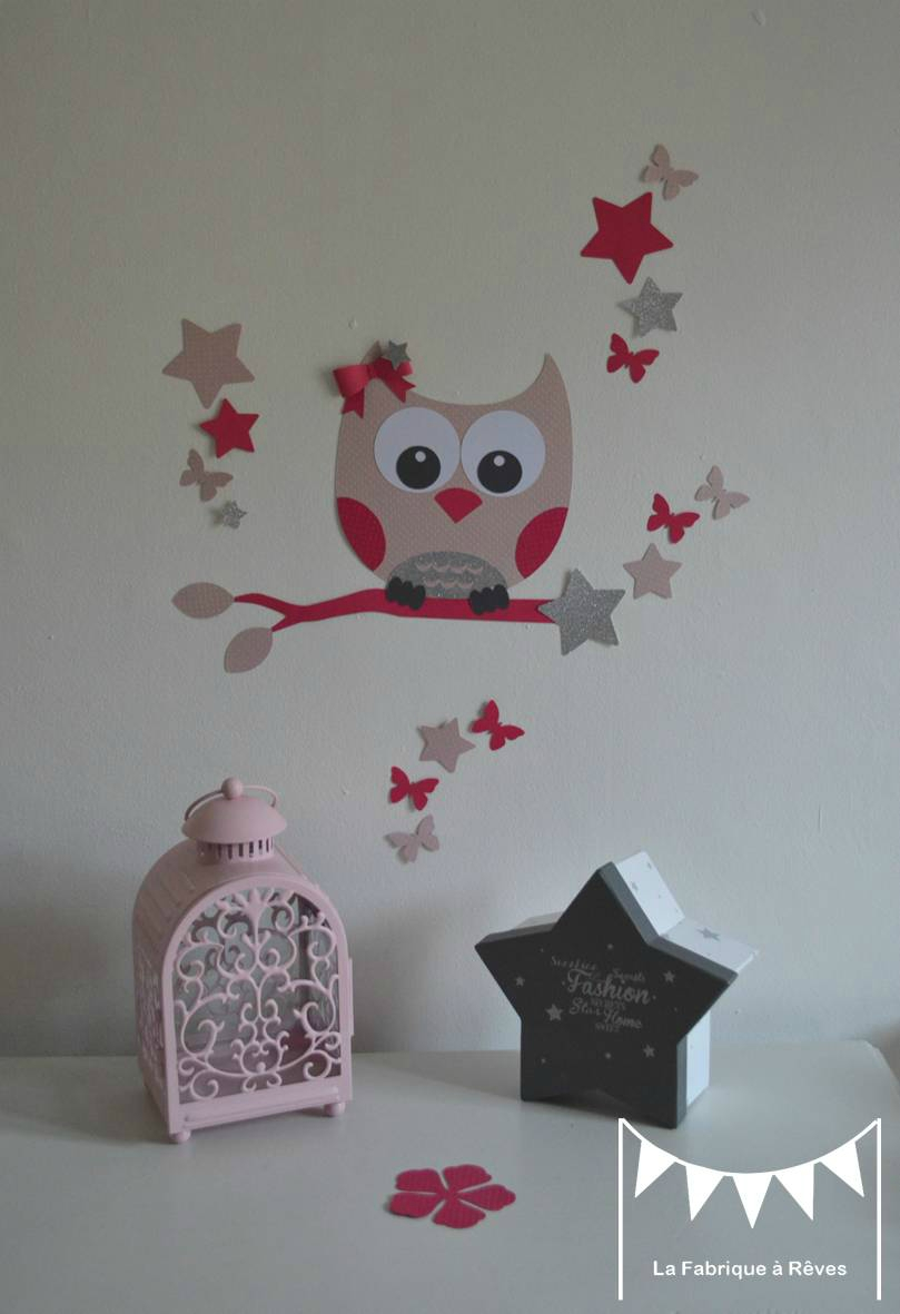 D coration chambre enfant fille stickers hibou chouette toiles papillon rose gris fuchsia for Decoration chambre gris et fushia