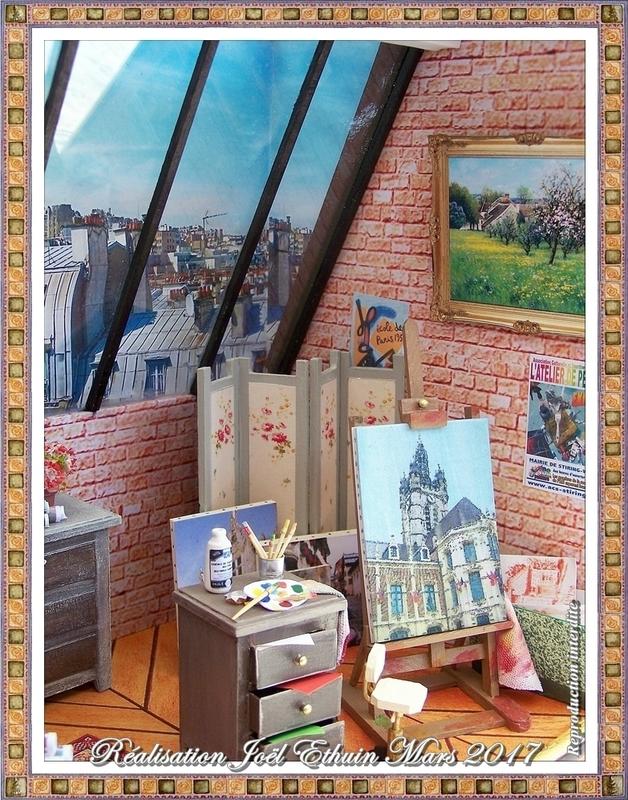 Mini Vitrine Atelier artiste peintre Terminée encadrée Côté chvalet d'atelier 16 (03-2017)