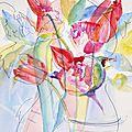 Eau,fleurs,pigments,encre