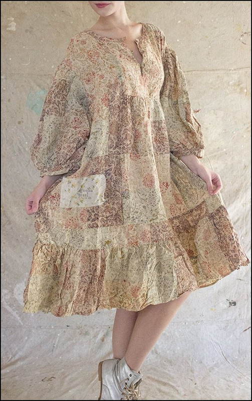 Dharma Hand Block Print and Handwoven Cotton Patchwork Dress 346 Anise Rose Petal .01.jpg