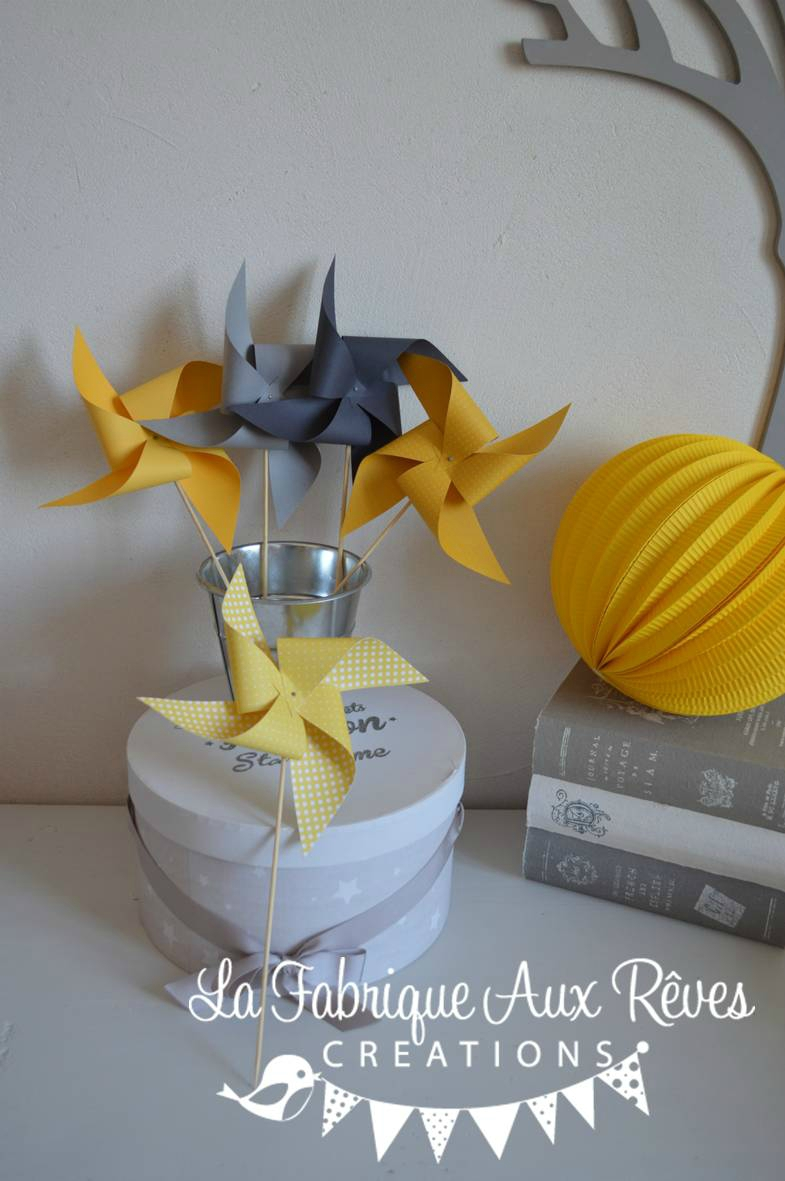 Moulins vent jaune soleil jaune moutarde gris mariage photobooth bapteme baby shower for Chambre bebe jaune moutarde