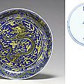 A yellow and blue dragon dish, Kangxi six-character mark in underglaze blue within a double circle and of the period (1662-1722)