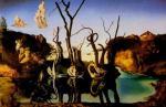 Les cygnes reflétant les éléphants 1937