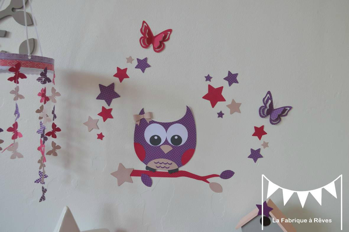 Stickers hibou chouette toiles papillon fille rose fuchsia violet rose poudr d coration for Decoration chambre bebe hibou