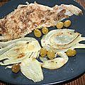 Raie au beurre noisette, anchois, olives et fenouil