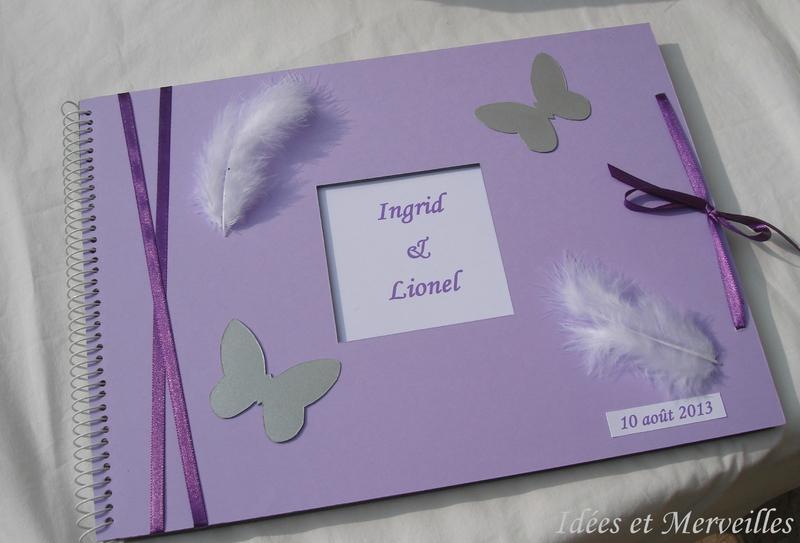 livre d'or papillons et plumes parme violet blanc et argent - idees et merveilles