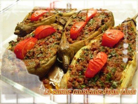 Aubergine farci avec de la viande hach e la cuisine - Cuisine tunisienne traditionnelle four ...