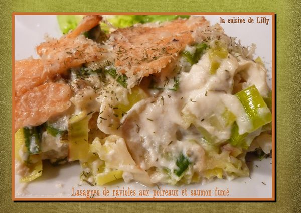 lasagne de ravioles aux poireaux et saumon fumé
