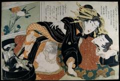 Hokusai Shunga Amour devant la fenêtre