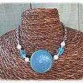 Collier bleu et blanc avec chaine (Cc48)