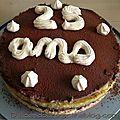 Entremet crème chocolat avec compotée de mangues et ses framboises