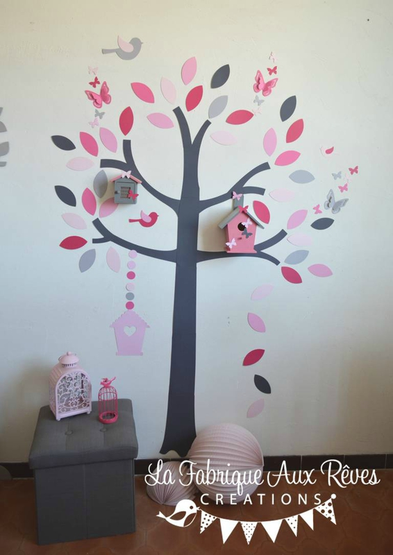 stickers arbre nichoirs papillons et oiseaux rose poudr. Black Bedroom Furniture Sets. Home Design Ideas