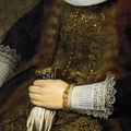 Rembrandt van rijn (1606-1669), portrait of a woman (detail), ca. 1632