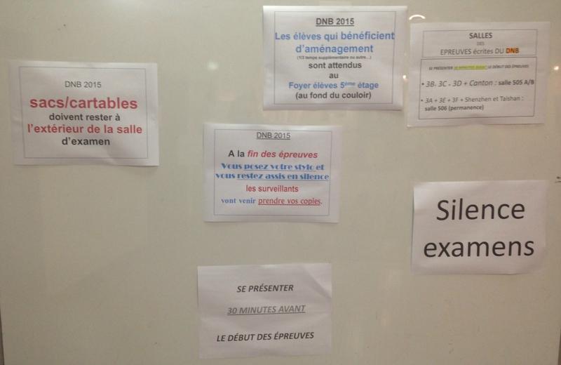 affichage examen
