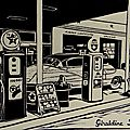 Linogravure - gas pumps