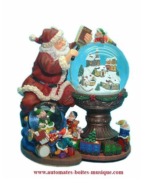Boule à neige musicale de Noël 2016 avec Père Noël